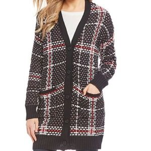 Jessica SImpson Black Red Maria Cardigan Size SM